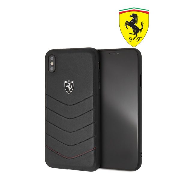 Ferrari Heritage Quilted Leather Case Black - Casing iPhone XS Max