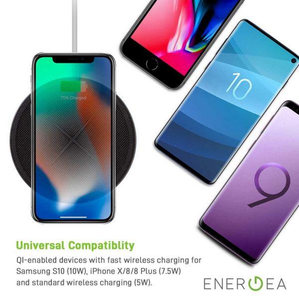 Energea - Widisc 75 Fast Wireless Charger Pad - Black