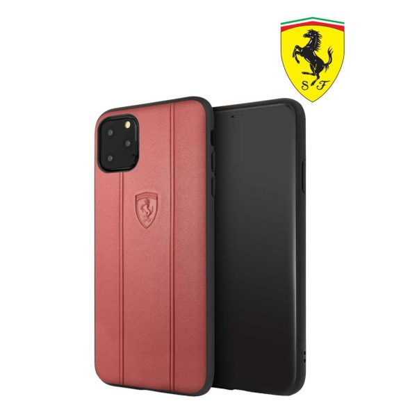 Ferrari Off Track Leather Embossed Case Red - Casing IPhone 11 Pro 5.8
