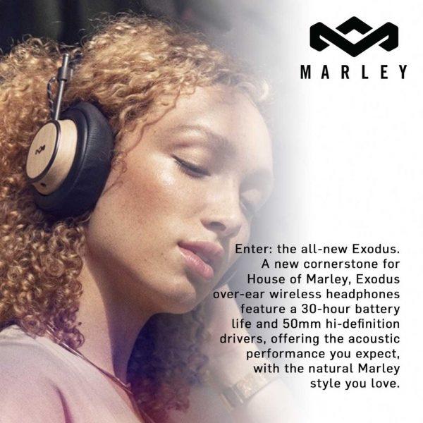 Marley - Exodus Wireless Over Ear Headphones Signature Black Headphones Wireless Marley