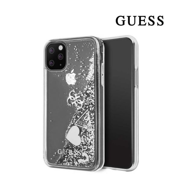 Guess - Hearts Glitter Backcase - Iphone 11 Pro 5.8 - Silver
