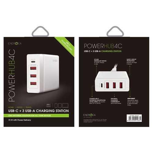 Energea - Powerhub 4C Charging Station 1xUSB-C 3xUSB-A - White
