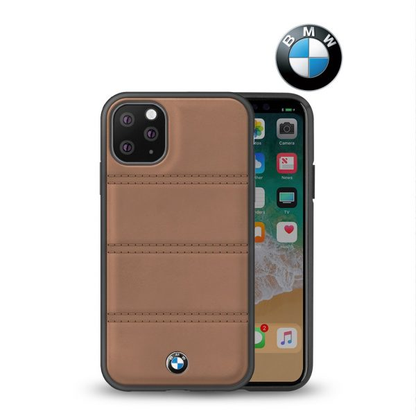 BMW Leather Case Horizontal Lines Case Camel - Casing IPhone 11 Pro 5.8
