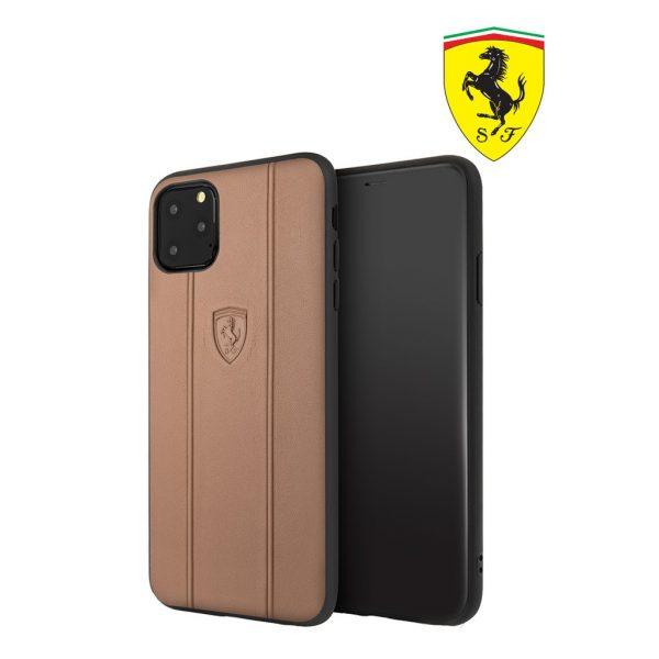 Ferrari Off Track Leather Embossed Case Camel - Casing IPhone 11 Pro 5.8