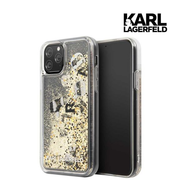Karl Lagerfeld Transparent Glitter Float Gold Case - Casing IPhone 11 Pro Max 6.5