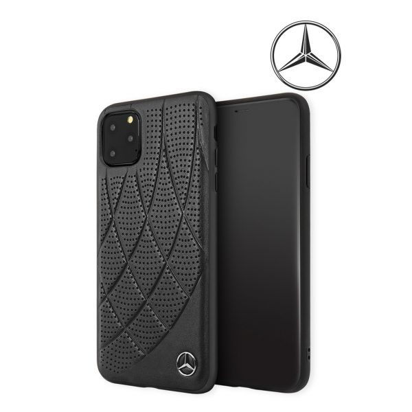 Mercedes Benz New Bow Line Leather Case Black - Casing IPhone 11 Pro Max 6.5