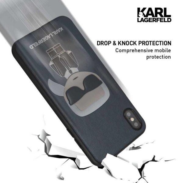 Karl Lagerfeld PU Embossed Ikonik Case Blue - Casing iPhone X Casing IPhone XS