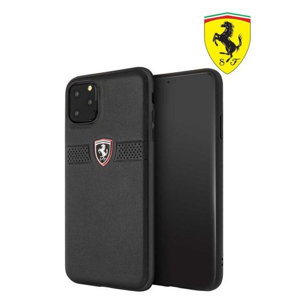 Ferrari Off Track Grained Leather Case Black - Casing IPhone 11 Pro Max 6.5