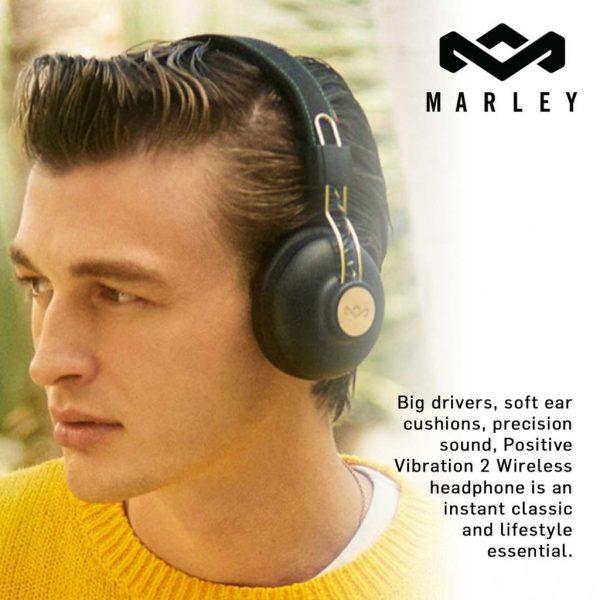 House of Marley Positive Vibration 2 Bluetooth Signature Black Headphones Bluetooth Marley
