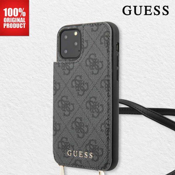 GUESS Crosbody Strap Case Cardslots Case Grey - Casing IPhone 11 Pro 5.8 Casing Guess