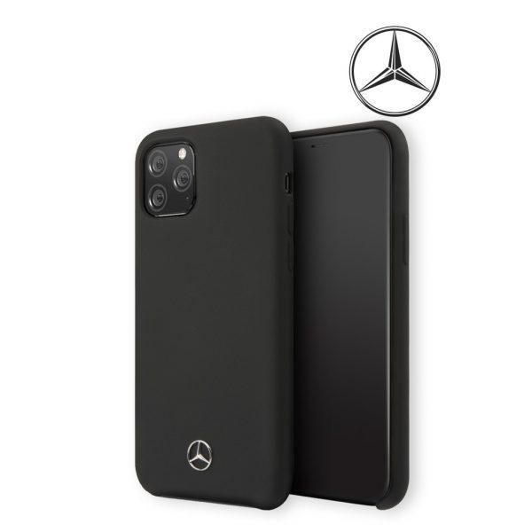 Mercedes Benz Silicone Signature Microfibre Case Black - Casing IPhone 11 Pro 5.8