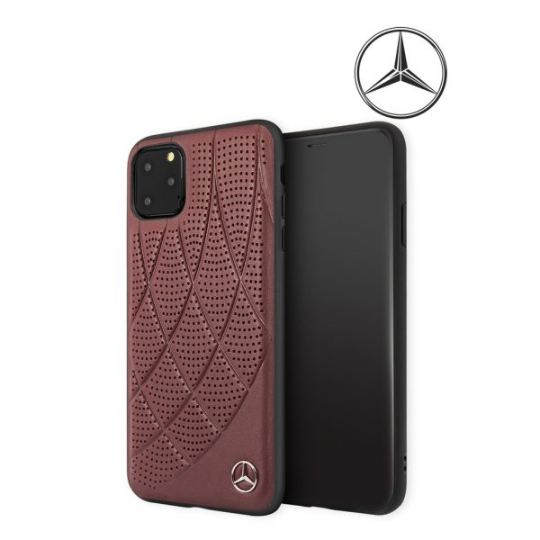 Mercedes Benz New Bow Line Leather Case Red - Casing IPhone 11 Pro Max 6.5