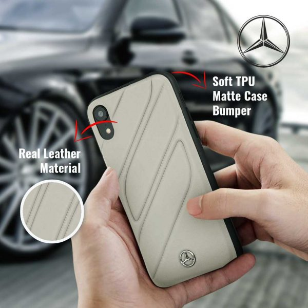 Mercedes Benz New Organic I Leather Silicone Case Gray - Casing iPhone XR