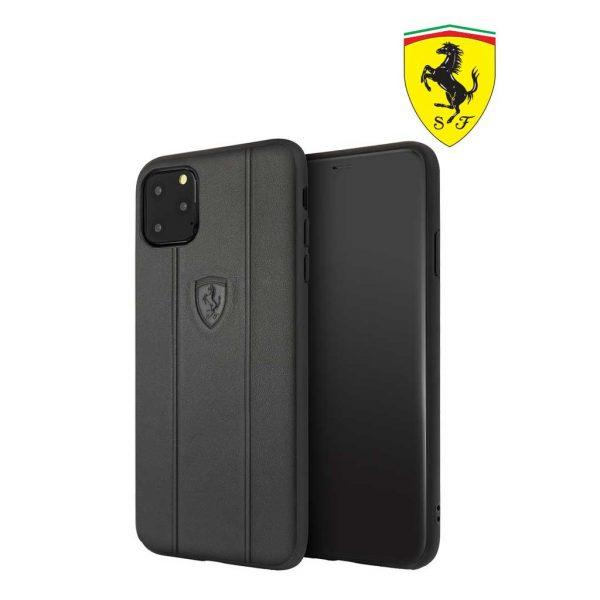 Ferrari Off Track Leather Embossed Case Black - Casing IPhone 11 Pro 5.8