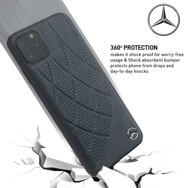 Mercedes Benz New Bow Line Leather Case Navy - Casing IPhone 11 Pro Max 6.5