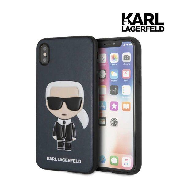 Karl Lagerfeld PU Embossed Ikonik Case Blue - Casing iPhone XS Max