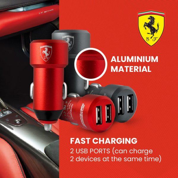 Ferrari - 2-USB Car Charger - Gray