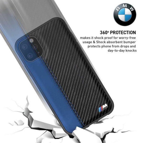 BMW Leather Carbon Contrast Stripe Case Blue - Casing IPhone 11 Pro Max 6.5 Casing BMW