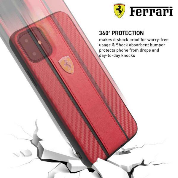 Ferrari Carbon PU Leather Case Red - Casing IPhone 11 Pro 5.8