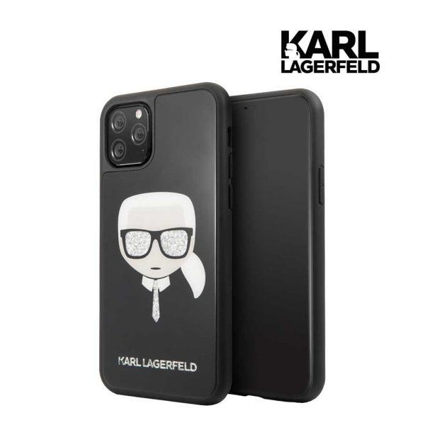 Karl Lagerfeld Karl Glitter Glasses Tempered Glass Black - Casing IPhone 11 Pro Max 6.5