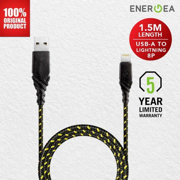 Energea DuraGlitz Lightning 8Pin for Apple 1.5 meter - Lime Kabel Duraglitz Kabel IPhone