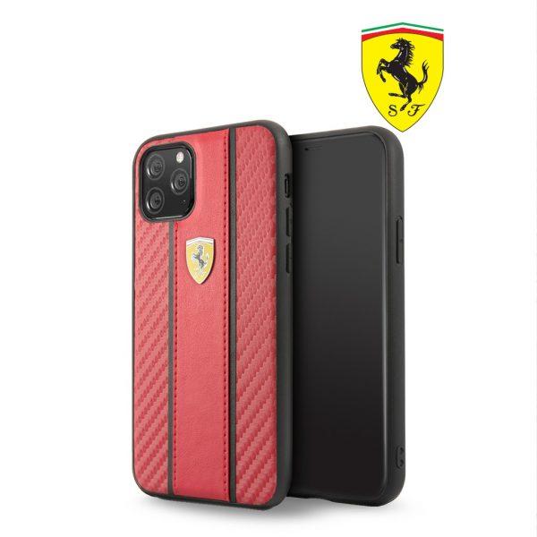 Ferrari Carbon PU Leather Case Red - Casing IPhone 11 Pro Max 6.5