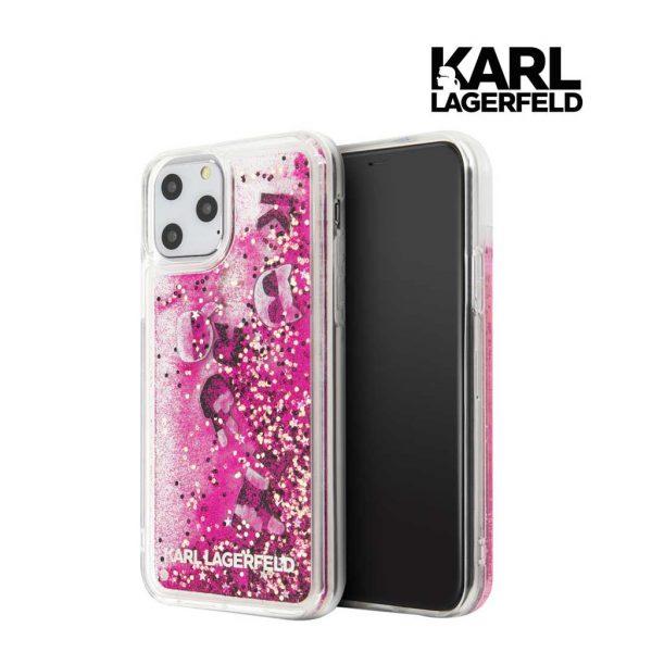 Karl Lagerfeld Transparent Glitter Float PInk Case - Casing IPhone 11 Pro 5.8