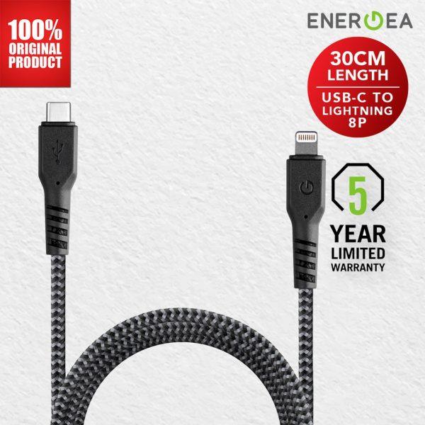 Energea - Fibratough Sync Cable 3A Type C To 8 PIN (Lightning) 30 Cm Black Kabel C to Lightning