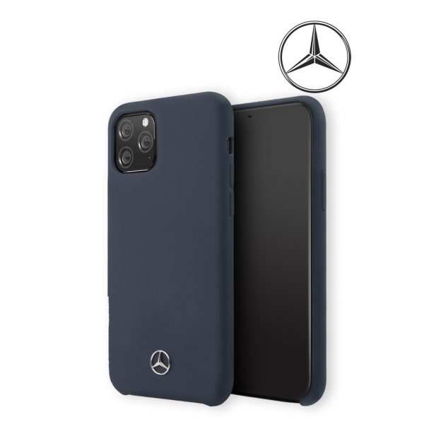 Mercedes Benz Silicone Signature Microfibre Case Navy - Casing IPhone 11 Pro Max 6.5