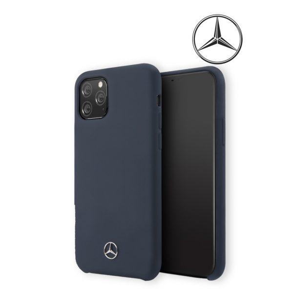 Mercedes Benz Silicone Signature Microfibre Case Navy - Casing IPhone 11 Pro 5.8