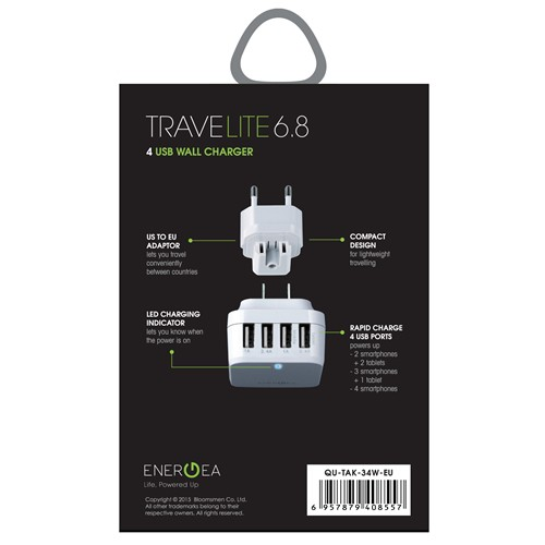 Energea - Travelite 6.8A 4-USB Wall Charger (US EU) - White