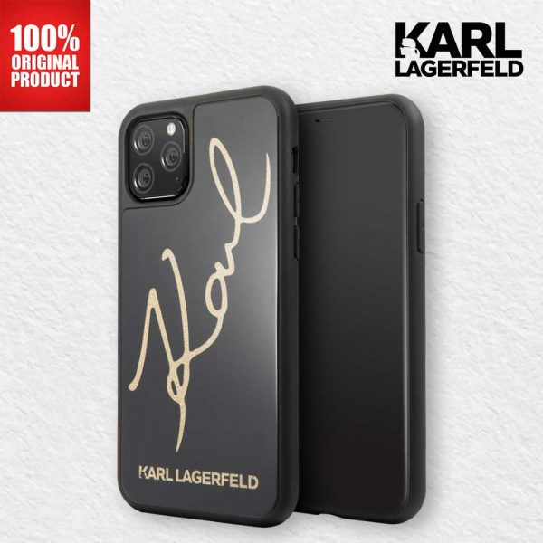 Karl Lagerfeld Karl Signature Tempered Glass Case (TPG) Black - Casing IPhone 11 Pro Max 6.5