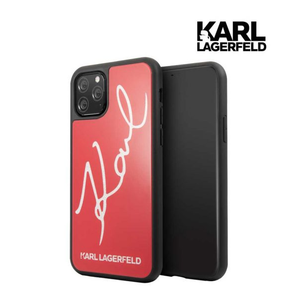 Karl Lagerfeld Karl Signature Tempered Glass (TPG) Case Red - Casing IPhone 11 Pro Max 6.5