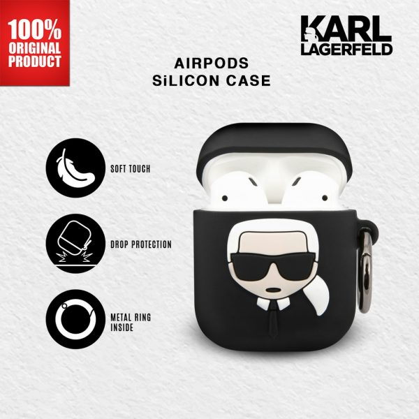 Karl Lagerfeld - Airpods Silicone Case Ikonik Karl Black Case Airpods 1 Case Airpods 2