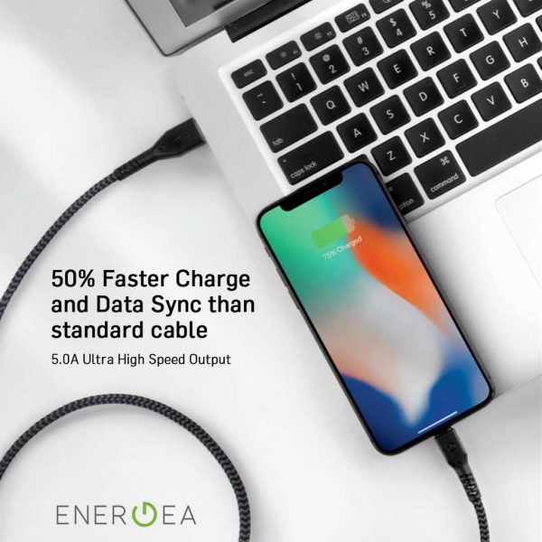 Energea Fibratough 3.1 USB Cable 5A 5GBPS C to C 1.5 meter Blue Kabel USB C To USB C Energea