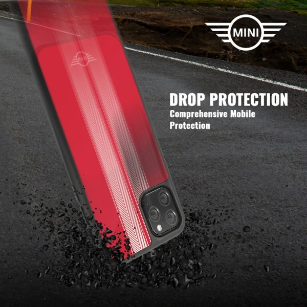 Mini Cooper Tire Marks Tempered Glass Case Red - Casing IPhone 11 Pro Max 6.5
