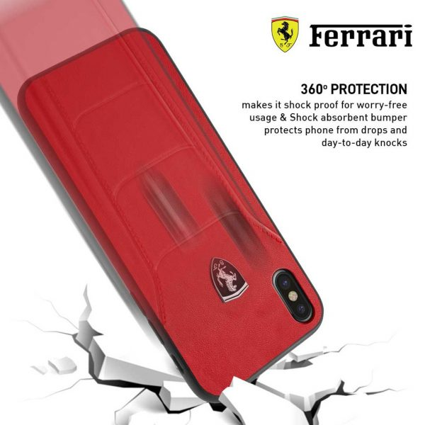 Ferrari Heritage 488 Genuine Leather Case Red - Casing iPhone XS Mas