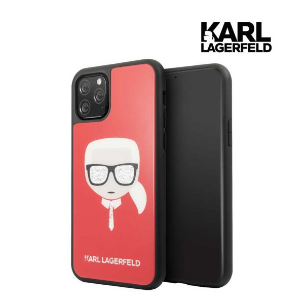 Karl Lagerfeld Karl Glitter Glasses Tempered Glass Case Red - Casing IPhone 11 Pro 5.8