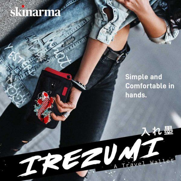 Skinarma Irezumi Travel Wallet Jet Karp Black Dompet Jalan Dompet HP Dompet Slempang