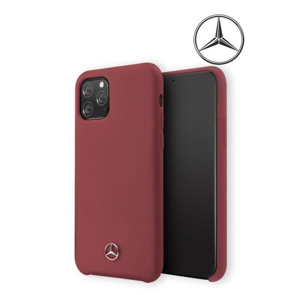 Mercedes Benz Silicone Signature Microfibre Case Red - Casing IPhone 11 Pro Max 6.5