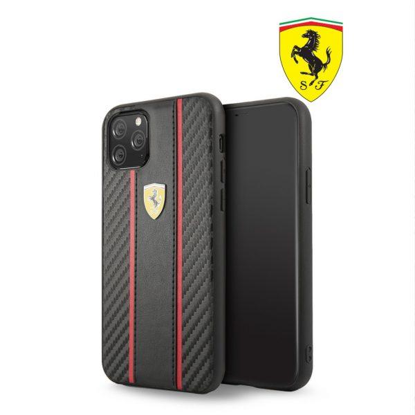 Ferrari Carbon PU Leather Case Black - Casing IPhone 11 Pro Max 6.5