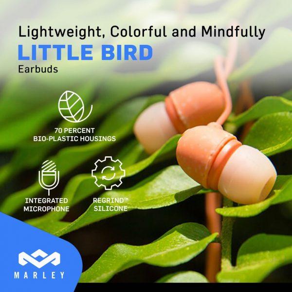 House of Marley Earphones Little Bird Peach Earphones Marley