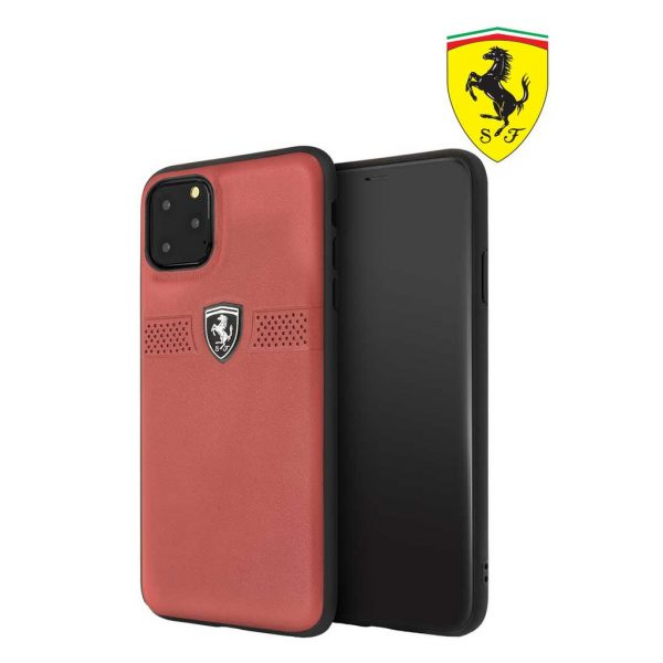 Ferrari Off Track Grained Leather Case Red - Casing IPhone 11 Pro Max 6.5