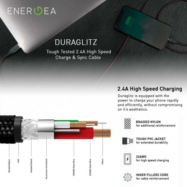 Energea DuraGlitz Lightning 8Pin for Apple 1.5 meter - Red Kabel Duraglitz Kabel IPhone