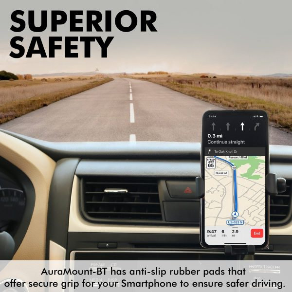 Wireless Charging Car Mount BT Earphone AuraMount Hitam PROMATE