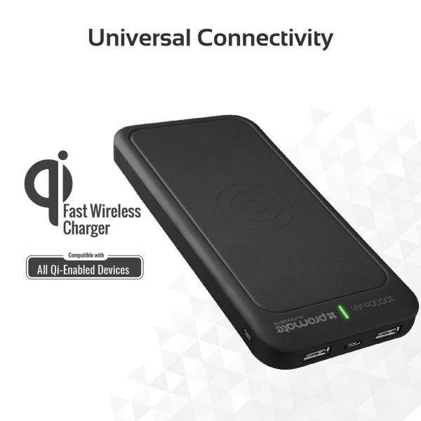 Power Bank Wireless 10000 mAh AuraVolt Hitam PROMATE