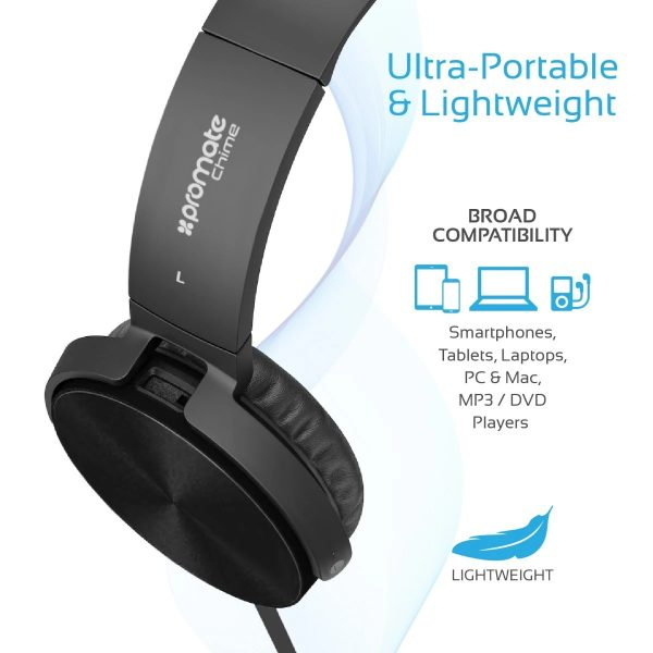 Wired Headset Rotatable Over Ear Stereo Hitam PROMATE