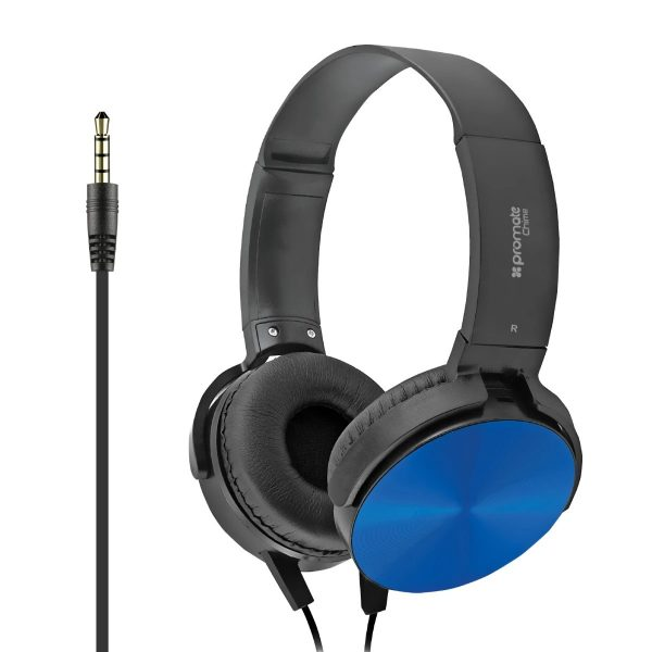 Wired Headset Rotatable Over Ear Stereo Biru PROMATE