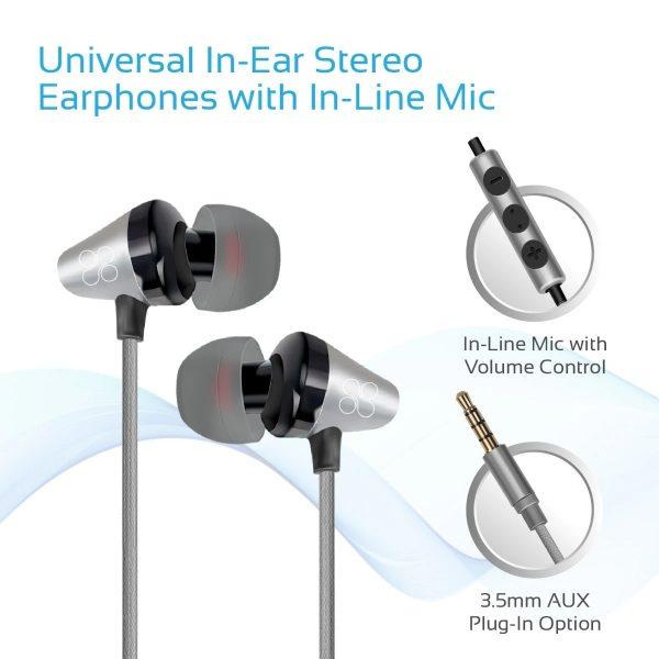 Wired Earphone Stereo In Ear Abu-abu PROMATE
