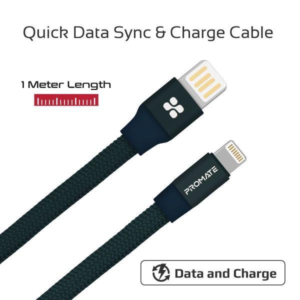 Kabel Data Auto Rolling iPhone Coiline Biru PROMATE